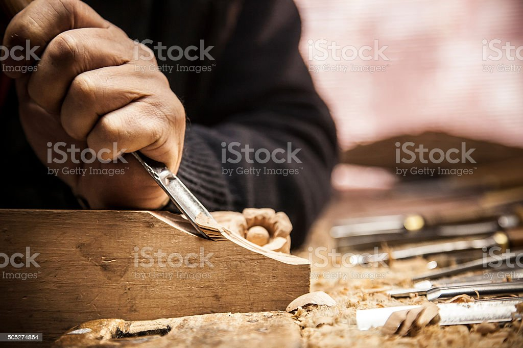 Engraver - Wood working stock photo