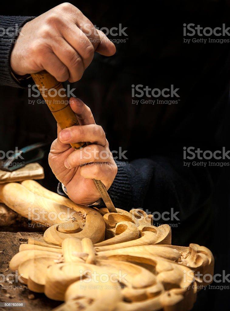 Engraver - Wood working stock photo