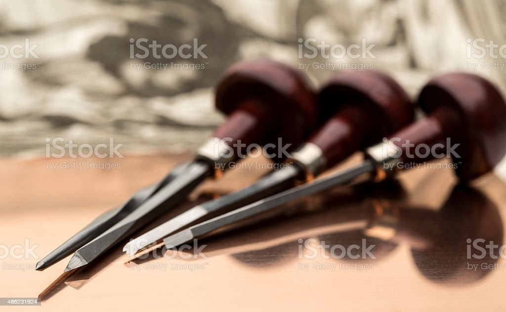 Engraving hand tools stock photo