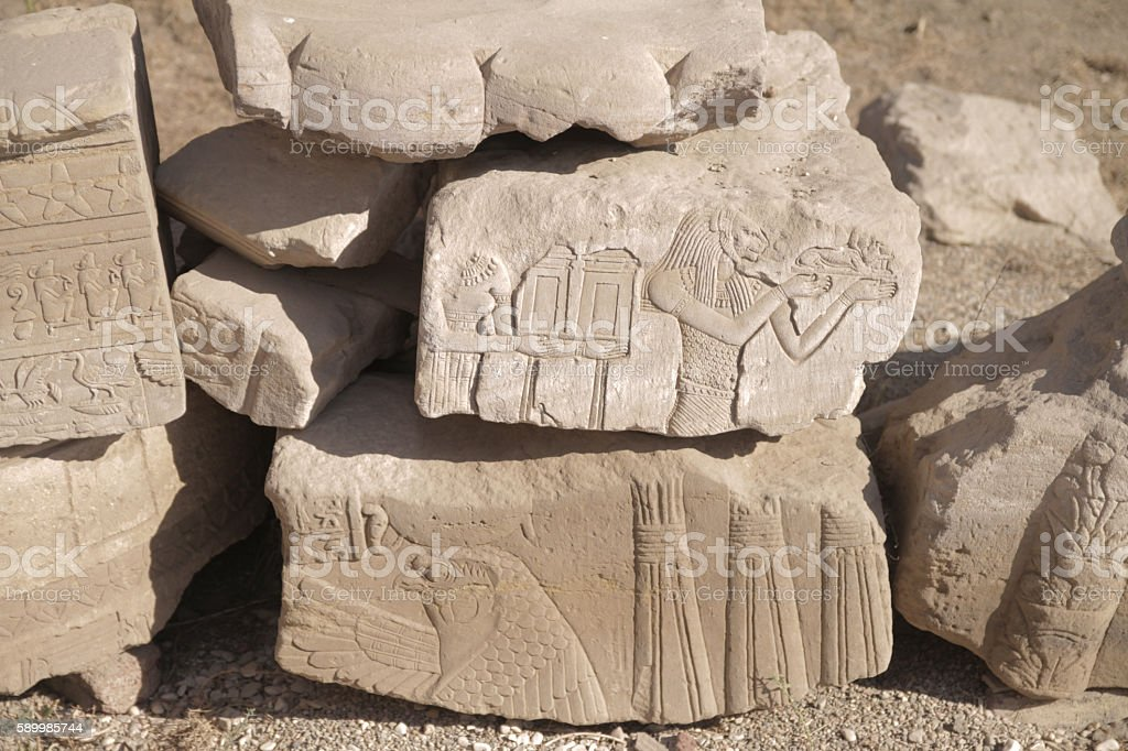 Engraving of Goddess Bastet in Egyptian Temple stock photo