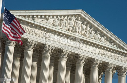 The front facade of the United States Supreme Court in Washington D.C.