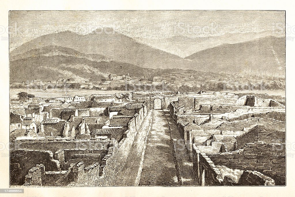 Engraving ruines of Pompeii Italy 1881 royalty-free stock photo