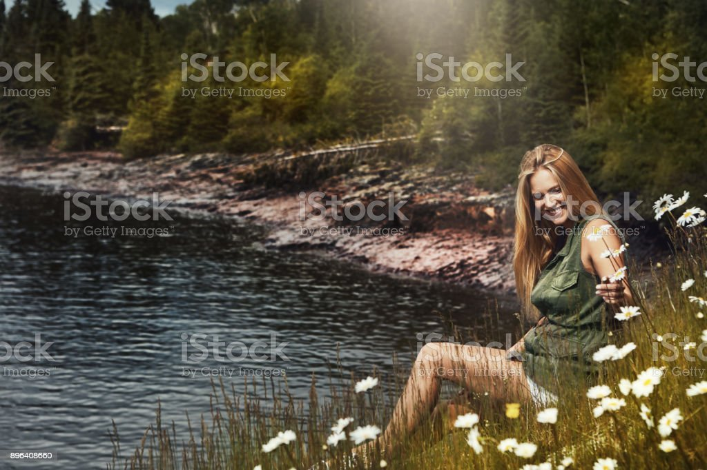 Engulfed in nature's pristine beauty stock photo