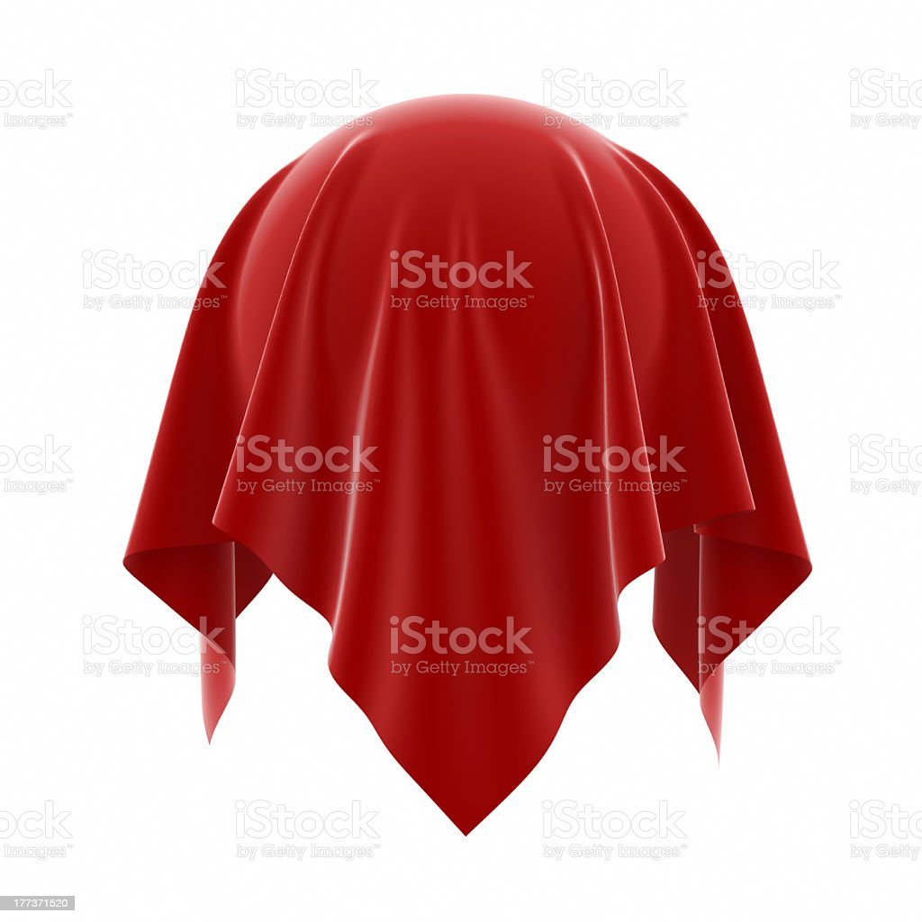 Enigma of a red cloth over a floating spherical object stock photo