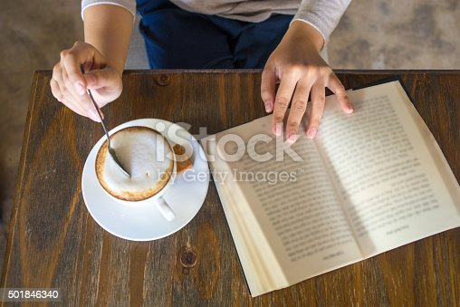istock Enjoy a free day with book and cup of cappuccino 501846340
