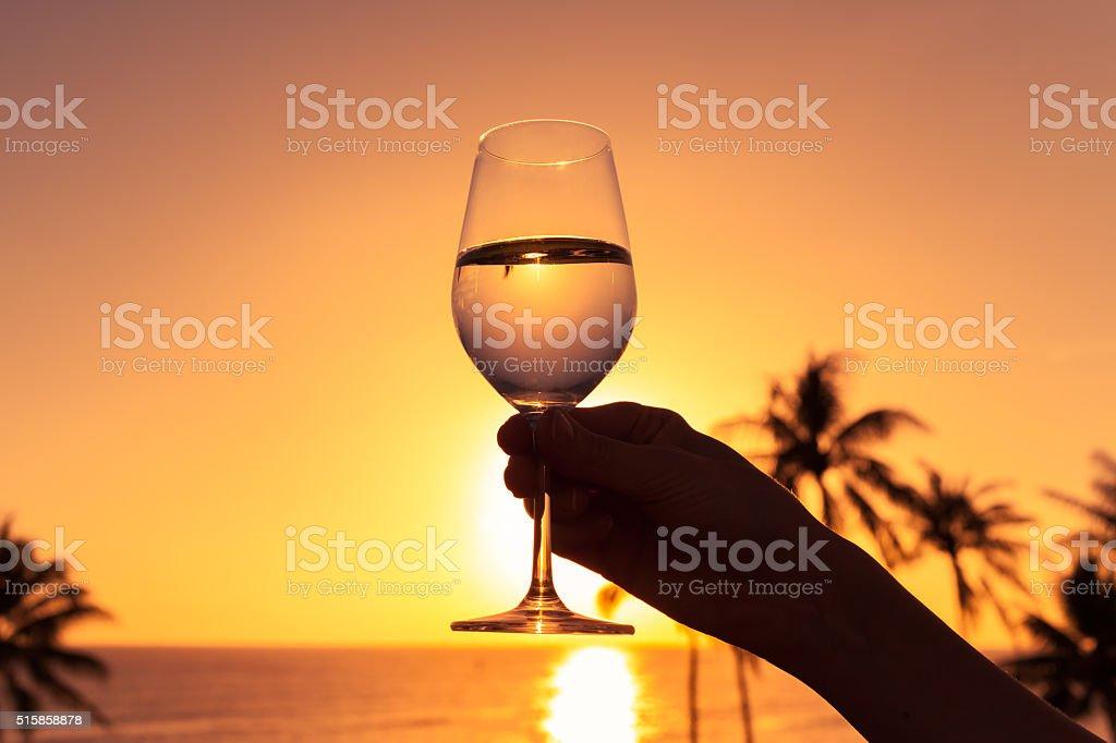 Godetevi un bicchiere di vino in mare. - foto stock