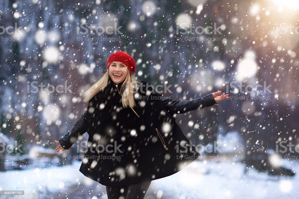 enjoy a great winter day stock photo