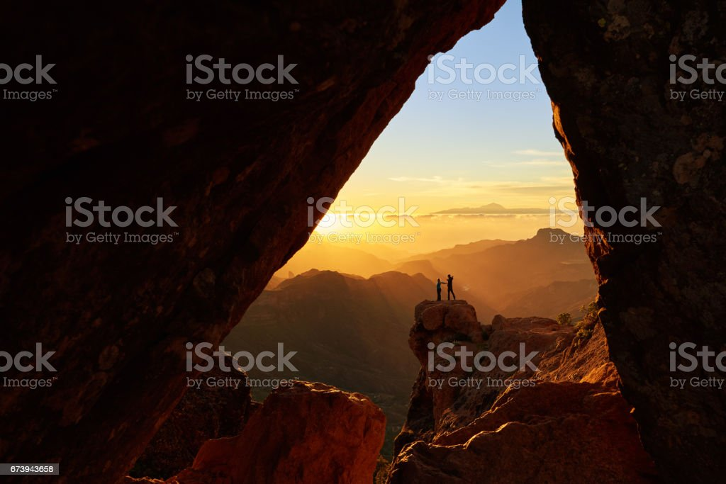 enjoy adventure together stock photo