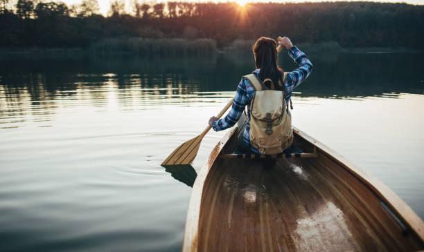 Enjoy canoeing stock photo