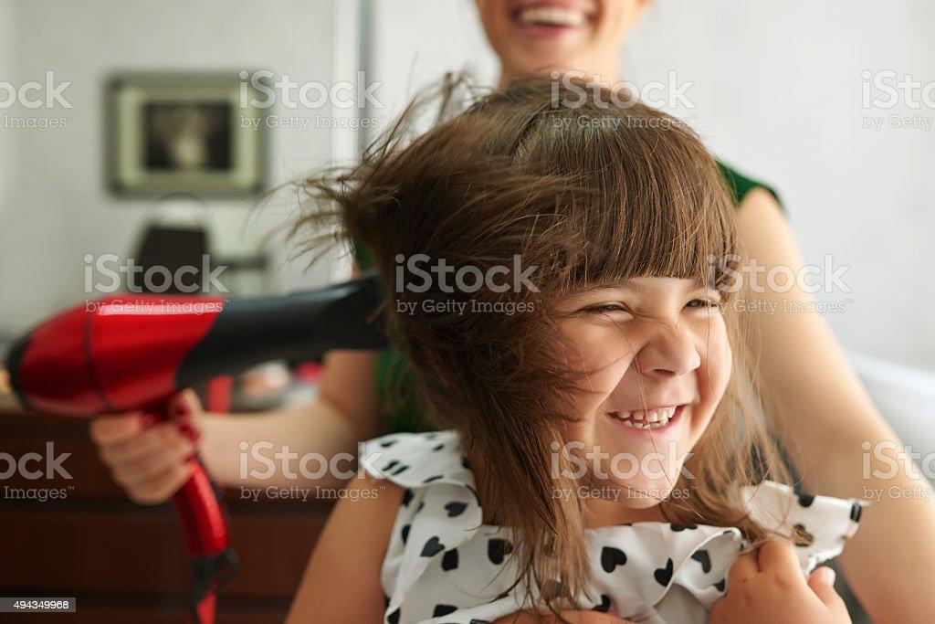 enjoy day at hairsalon stock photo