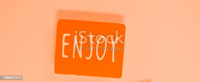 istock Enjoy greetings message written in letters on presenta tag. 1008537472
