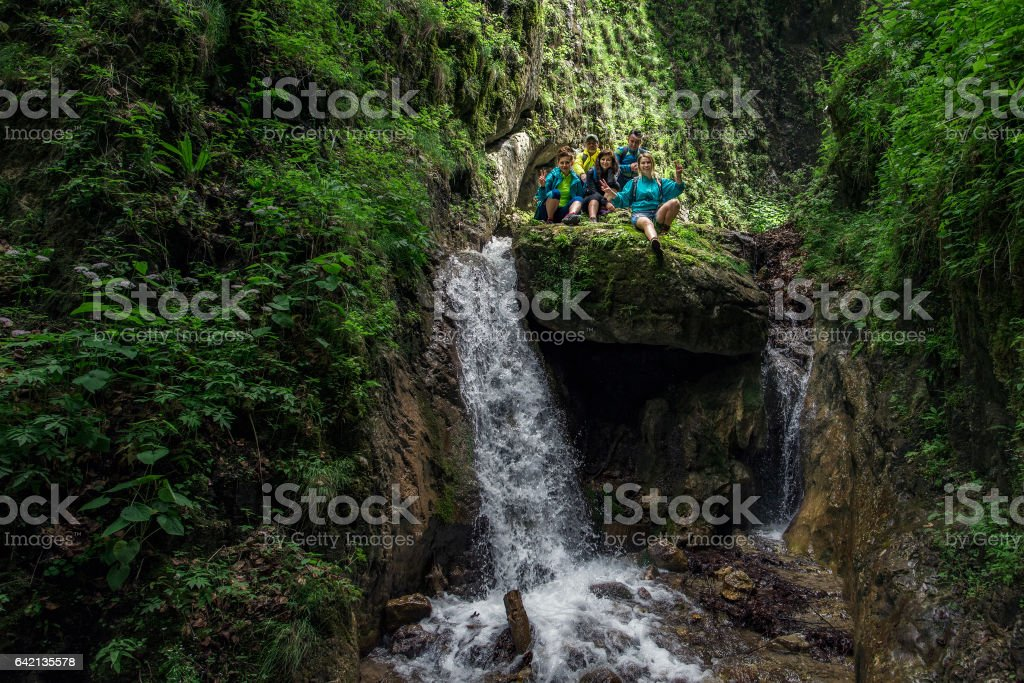 enjoy happy trip in the forest stock photo