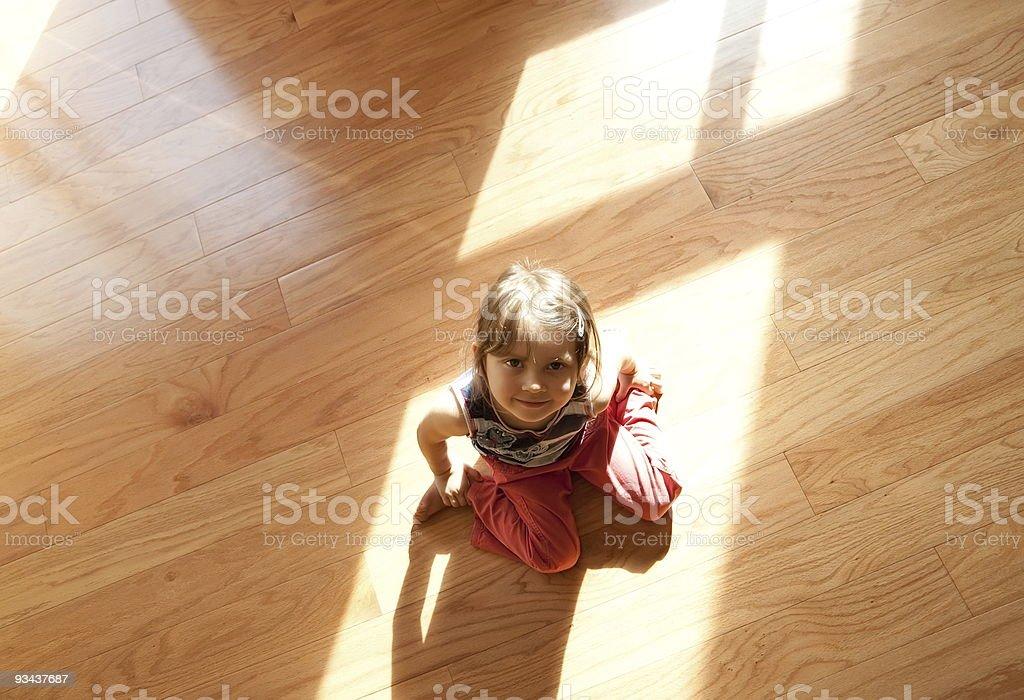 Enjoy hardwood floor royalty-free stock photo