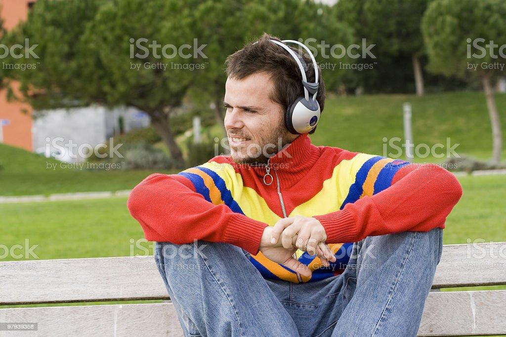 Enjoy music outdoor royalty-free stock photo