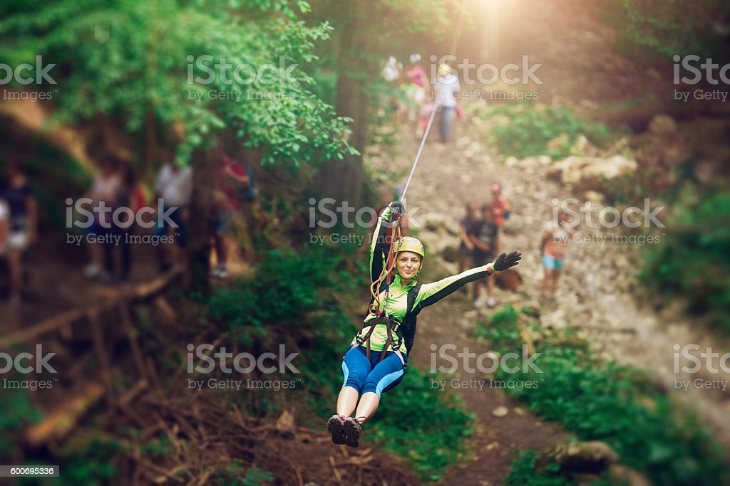 enjoy my adventure on the zip line stock photo