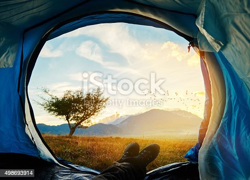 istock enjoy sunset in my tent 498693914