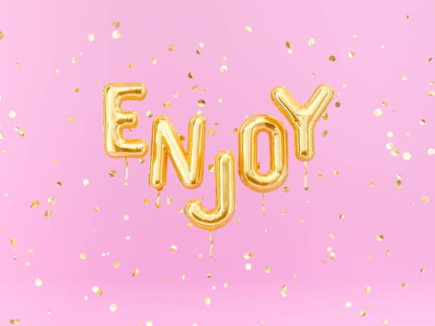 genießen sie-textzeichen, motivation glücklich lächeln banner - rosa zitate stock-fotos und bilder