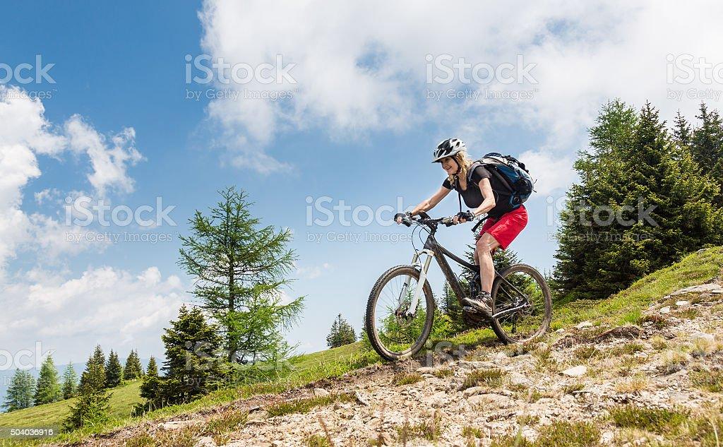 Enjoy the Carinthian Mountainbike Downhill, Austria ! stock photo