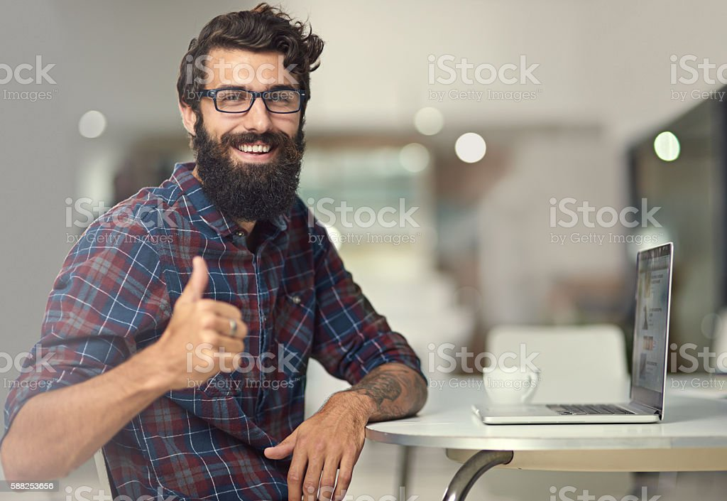 I enjoy the feeling of accomplishment  after a project stock photo