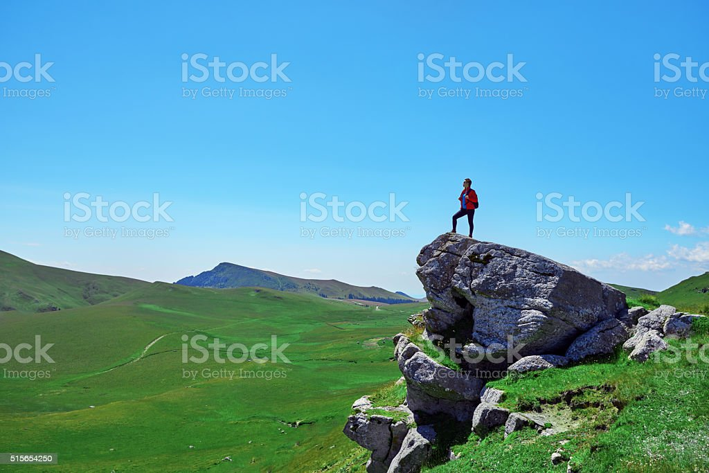 enjoy the summer day on the mountain stock photo