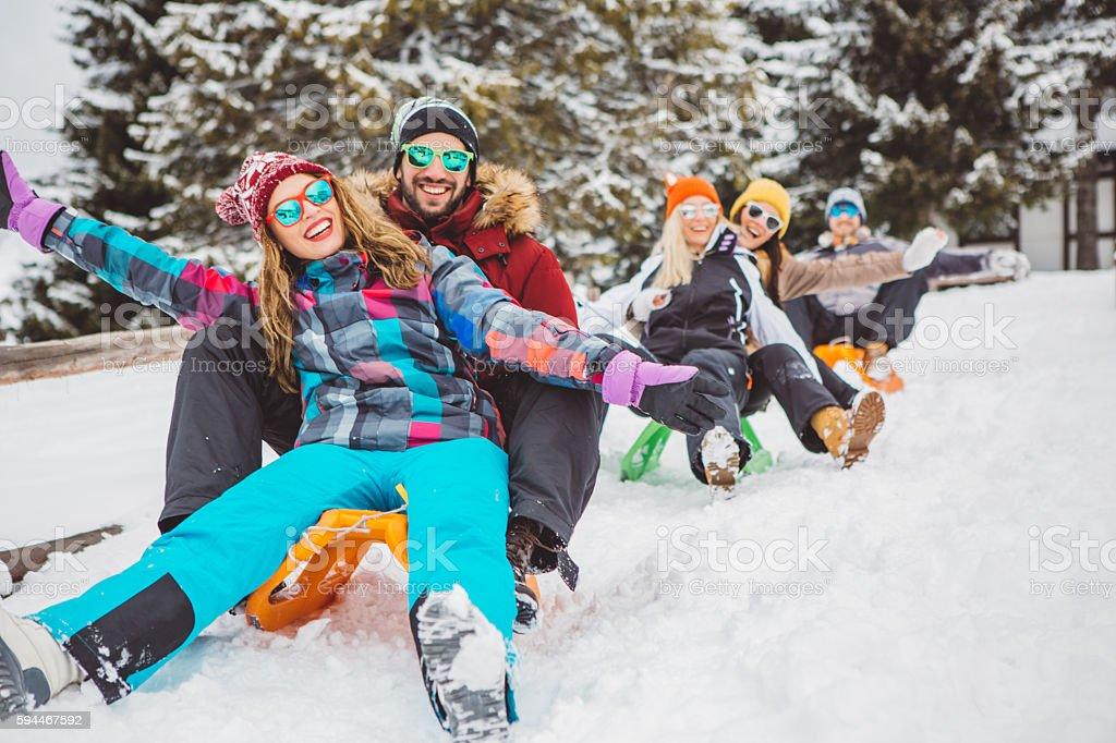 Enjoy winter stock photo