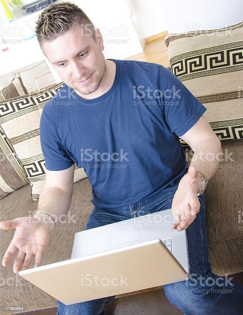 Enjoy with new laptop. royalty-free stock photo