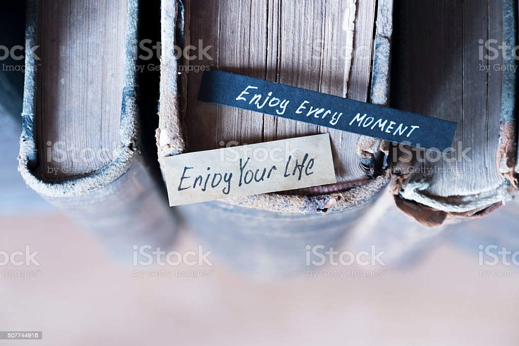 Enjoy your life text stock photo