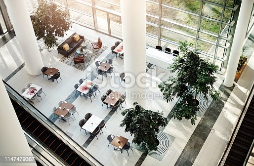 High angle shot of a sitting area in a building