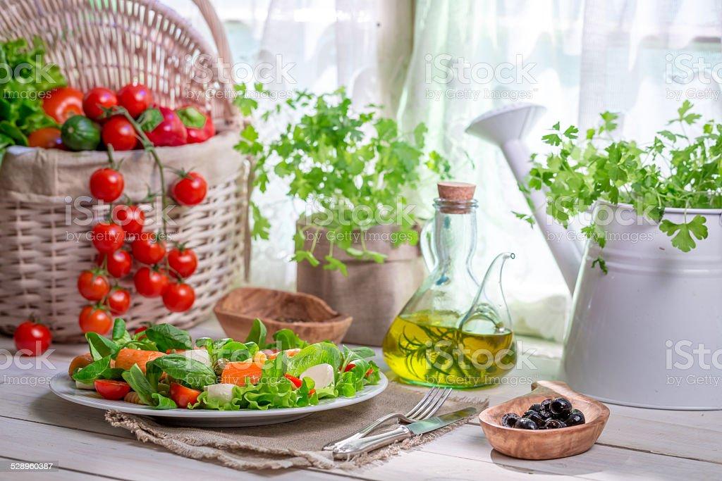 Enjoy your spring salad with salmon stock photo