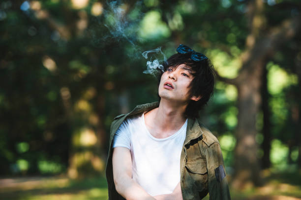 Enjoyin in smoking stock photo