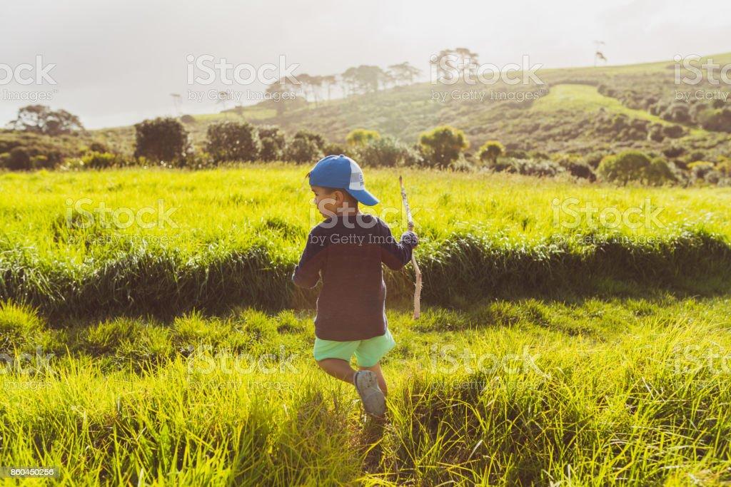 Enjoying a beautiful hike at Long Bay, Auckland, New Zealand. stock photo