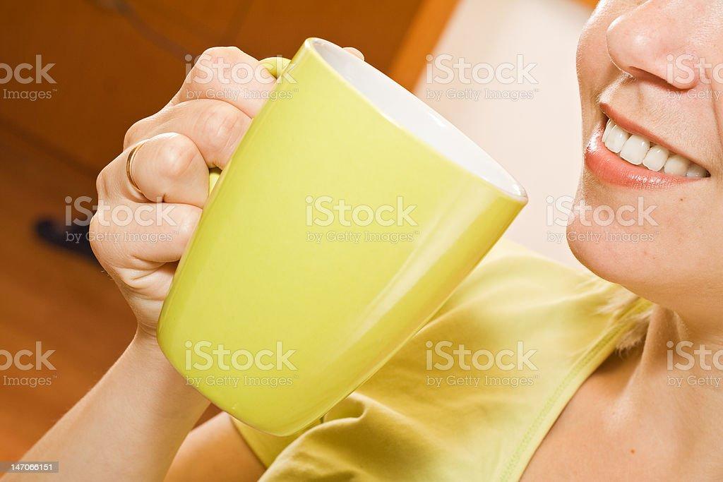 Enjoying a beverage stock photo