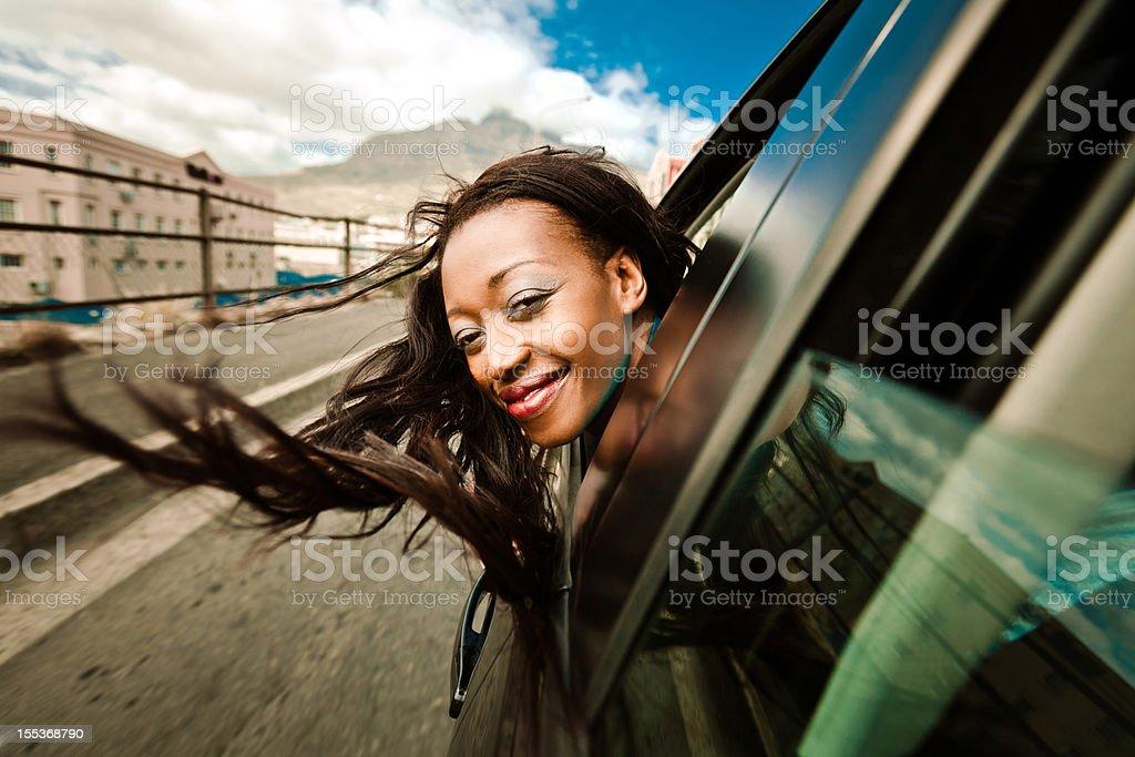 Enjoying a car ride stock photo