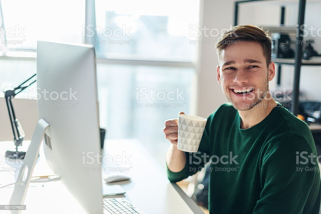 Enjoying a cup of coffee stock photo