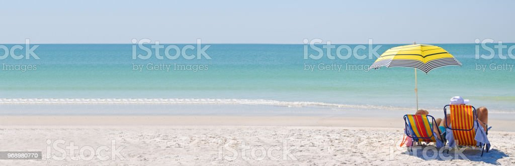Enjoying a Day at the Beach stock photo