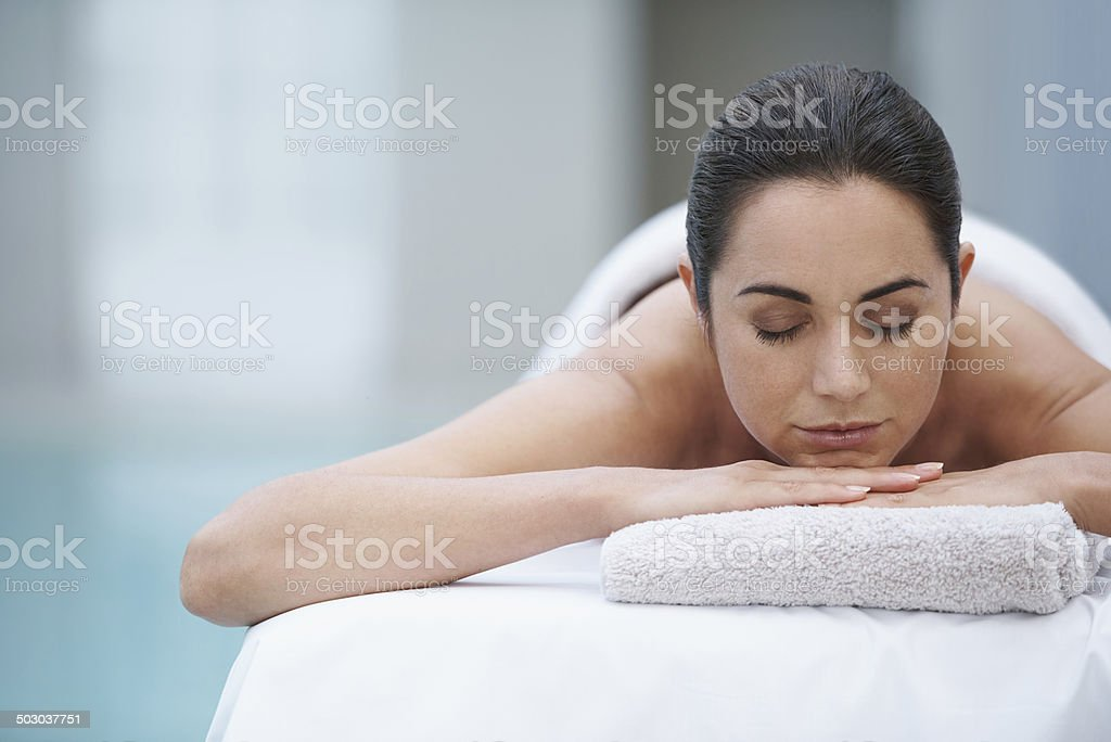 Enjoying a day at the spa stock photo