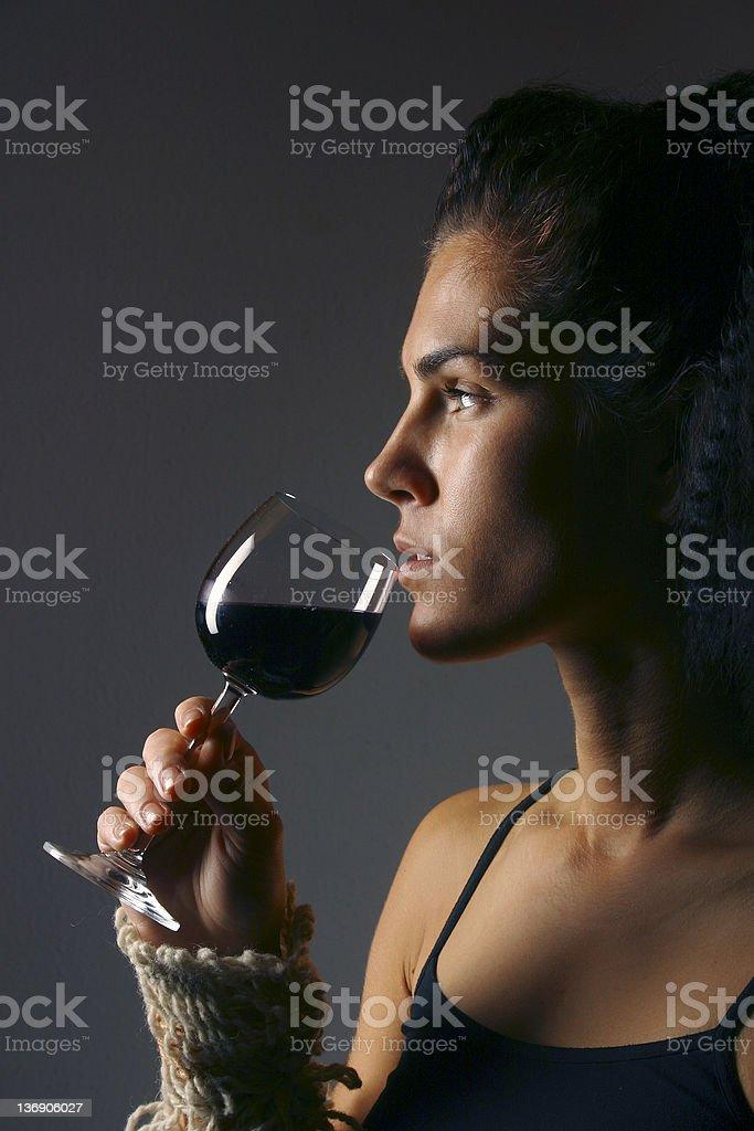 Enjoying a glass of wine 1 royalty-free stock photo