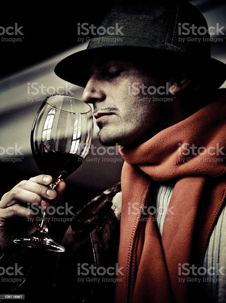 enjoying a glass of wine royalty-free stock photo