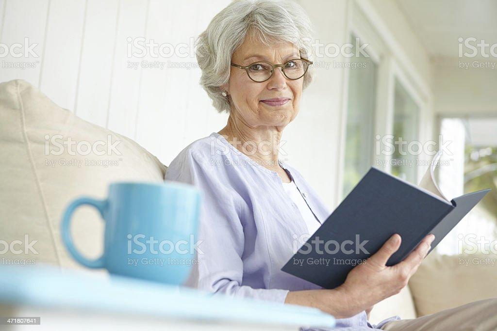 Enjoying a good book stock photo