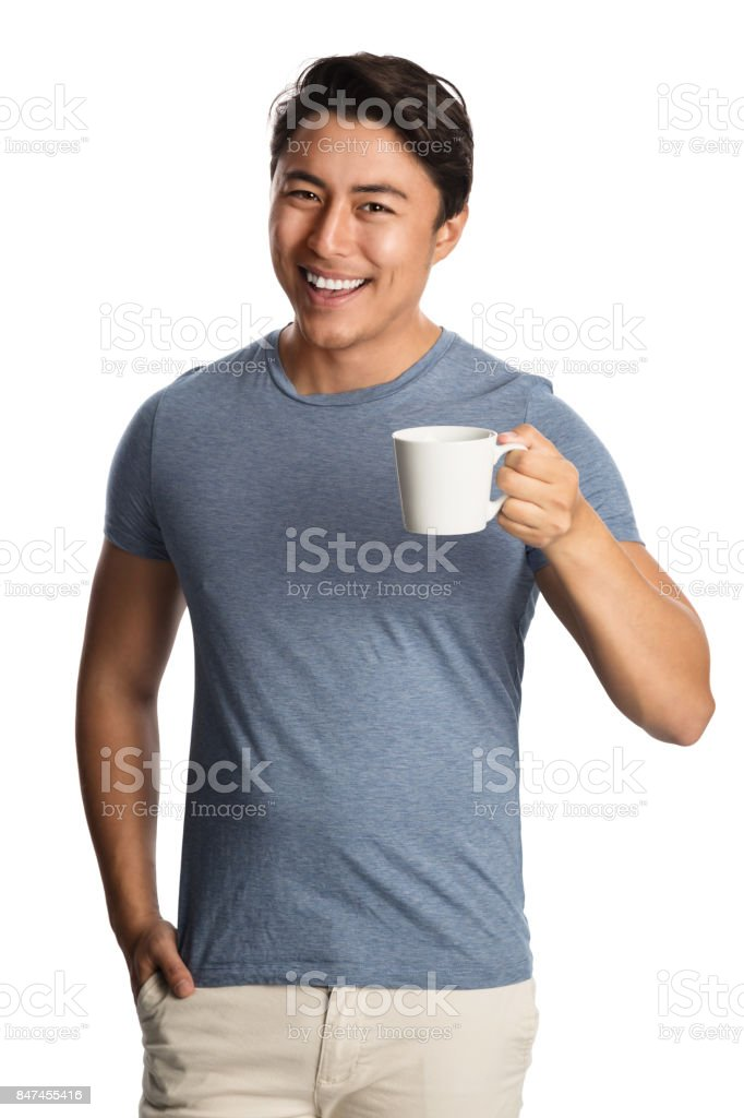 Enjoying a great cup of coffee in the morning stock photo