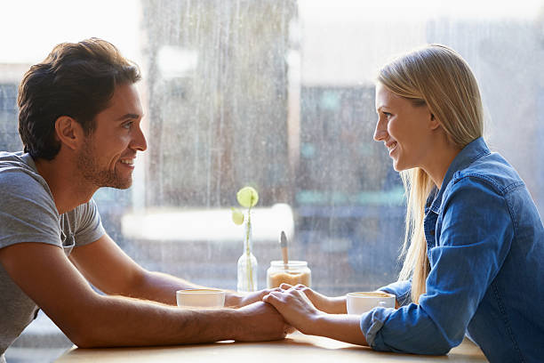 Enjoying a great first date! stock photo