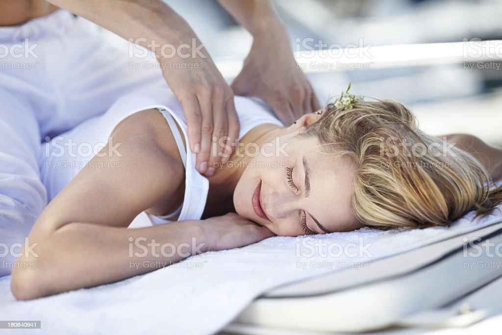 Enjoying a great massage royalty-free stock photo