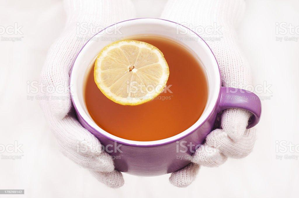 Enjoying a hot drink royalty-free stock photo