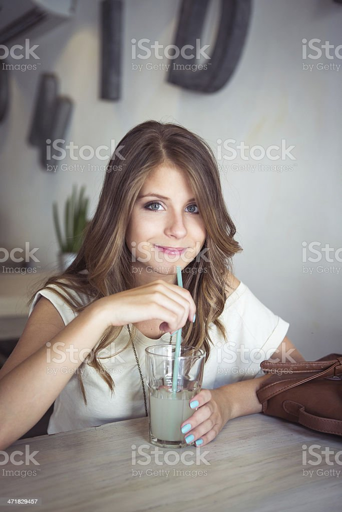 Enjoying a lemonade royalty-free stock photo