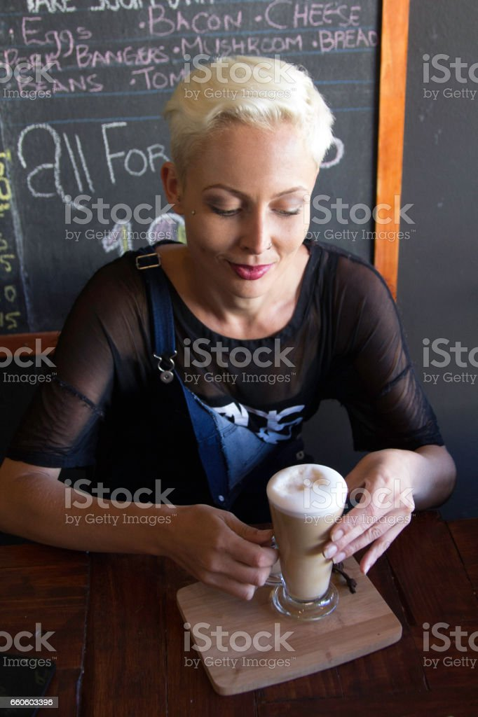 Enjoying a morning coffee royalty-free stock photo