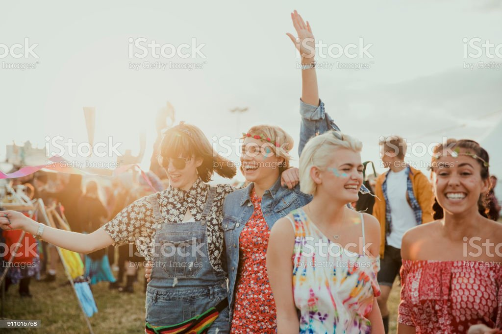 Enjoying a Music Festival stock photo