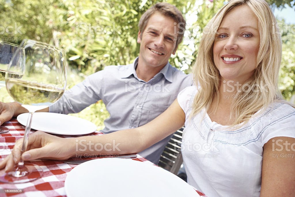 Enjoying a nice glass of wine with my hubby royalty-free stock photo