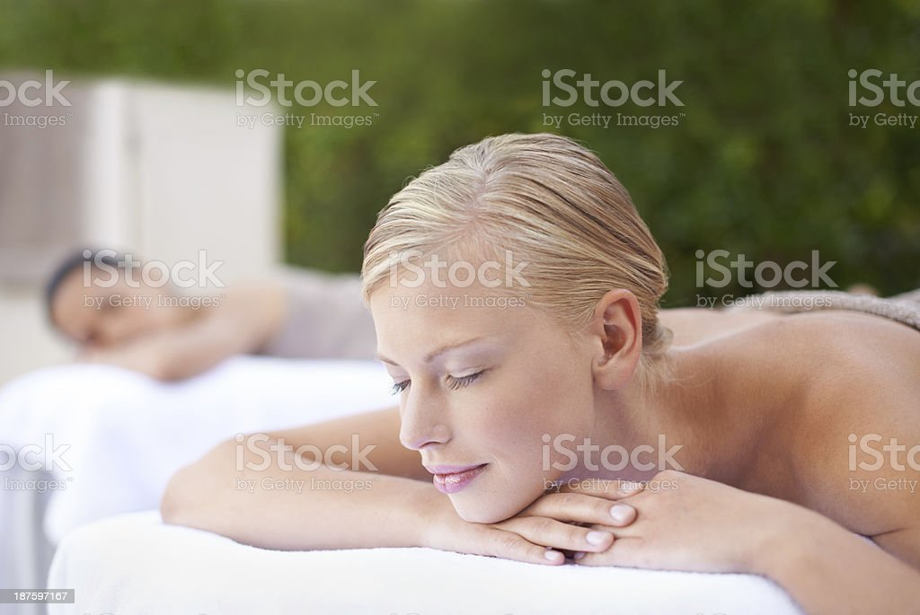 Enjoying a pampering session together royalty-free stock photo