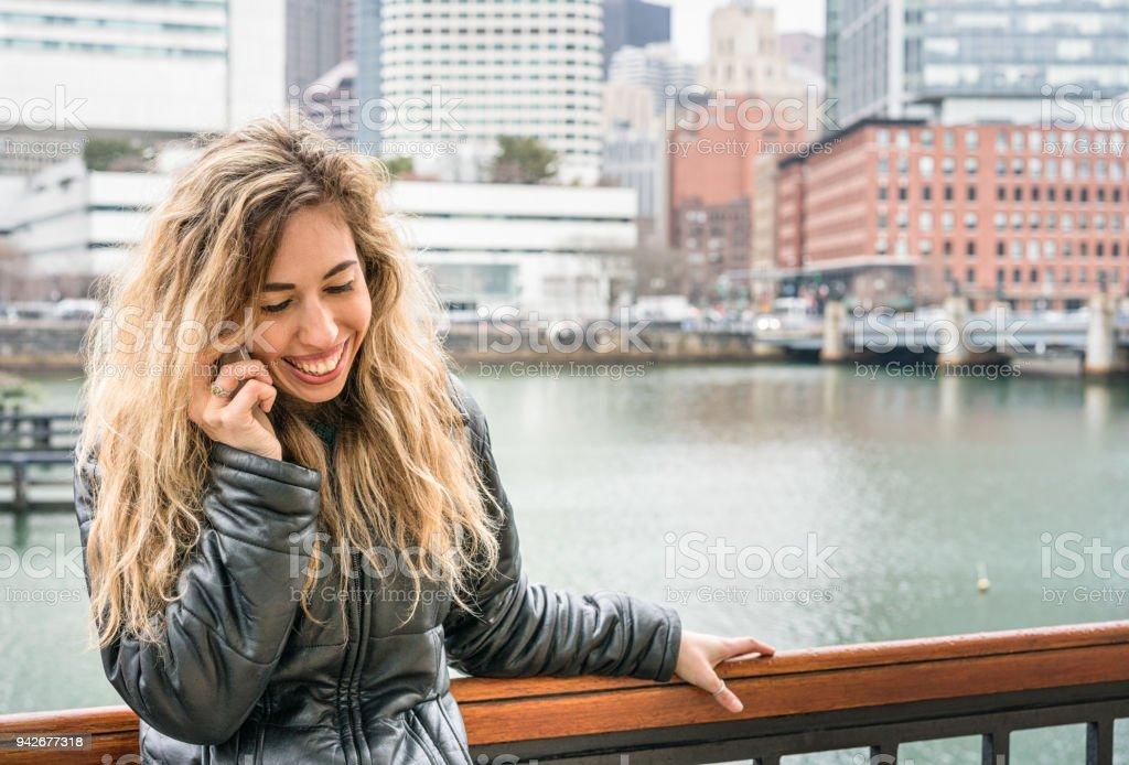 Enjoying a phone call stock photo