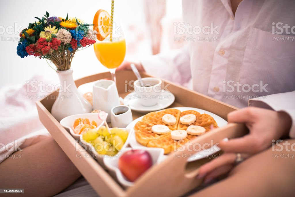 Enjoying a relaxed sunday morning in bed stock photo